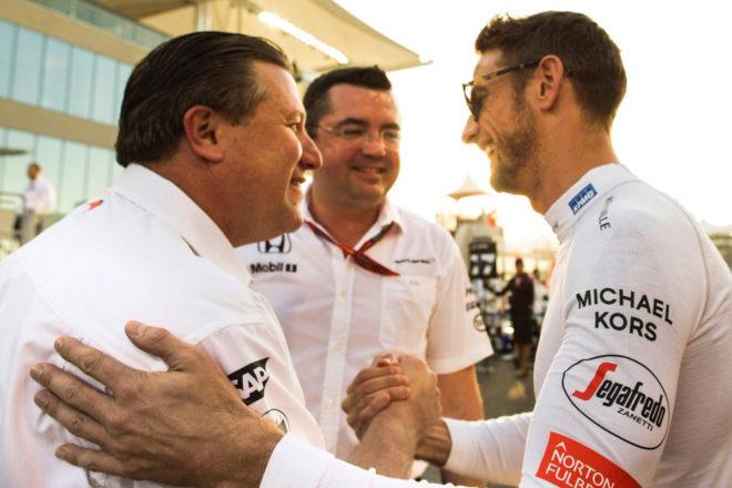 McLaren Technology Group Executive Director Zak Brown With Jensen Button