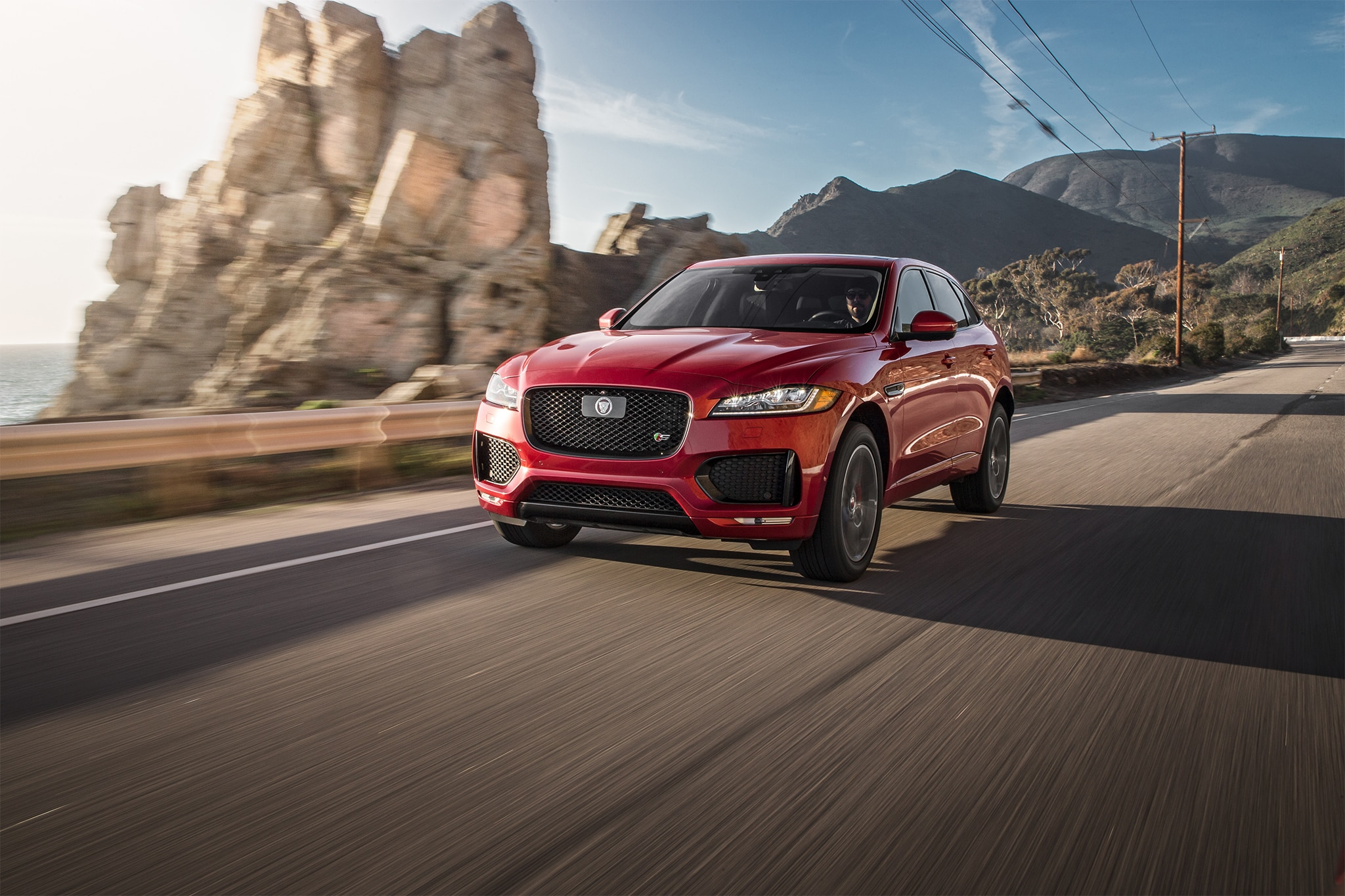 2017 Jaguar F Pace S Front Three Quarter In Motion 02
