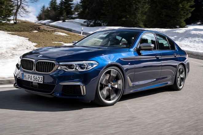 2018 BMW M550i XDrive Front Side View With Snow