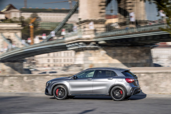2018 Mercedes AMG GLA45 4MATIC side profile in motion 02