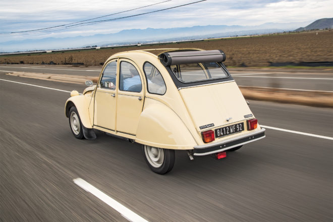 1990 Citroen 2CV6 Special rear three quarter in motion