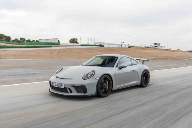 2018 Porsche 911 GT3 front three quarter in motion 06