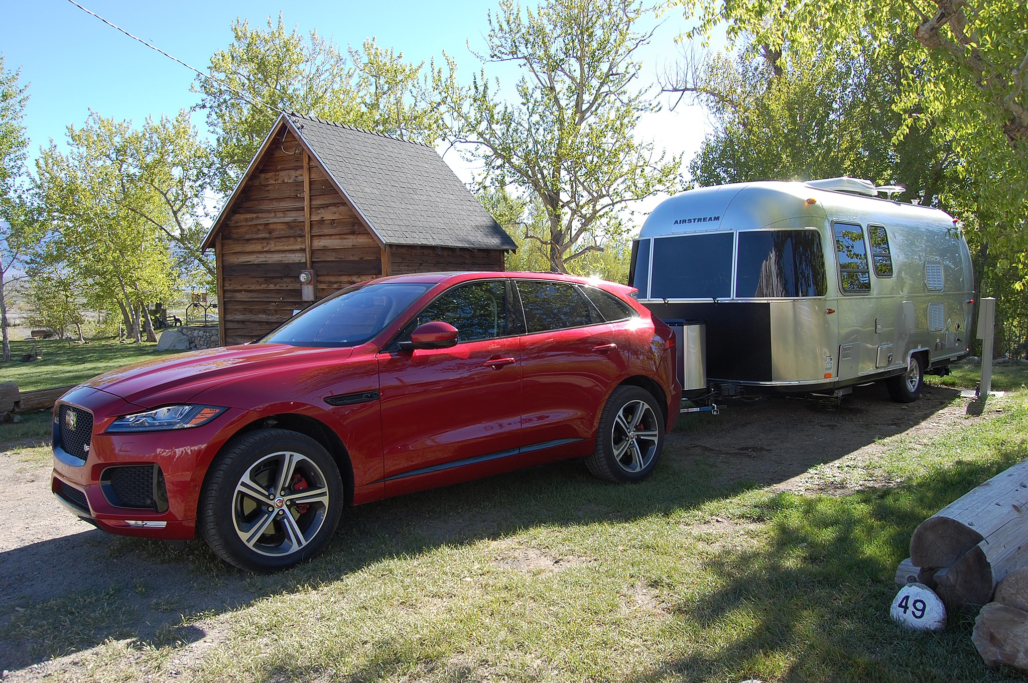 2017 Jaguar F Pace Long Term Towing Airstream At Campsite