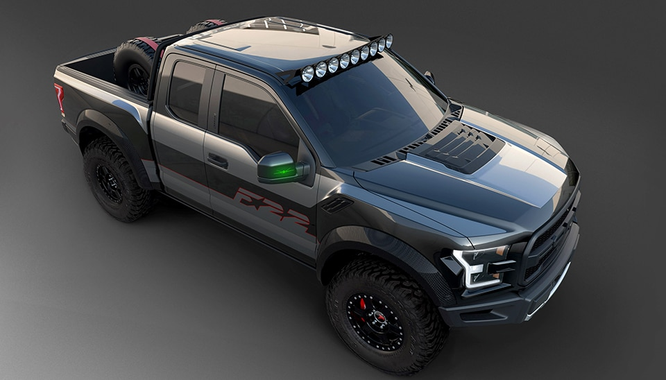 2017 Ford F 22 Raptor Overhead 3 4 View