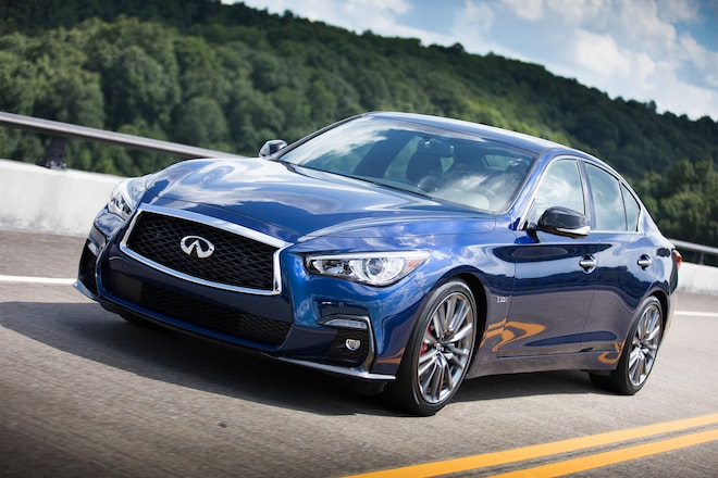 2018 Infiniti Q50 Red Sport 400 Front Three Quarter In Motion 11