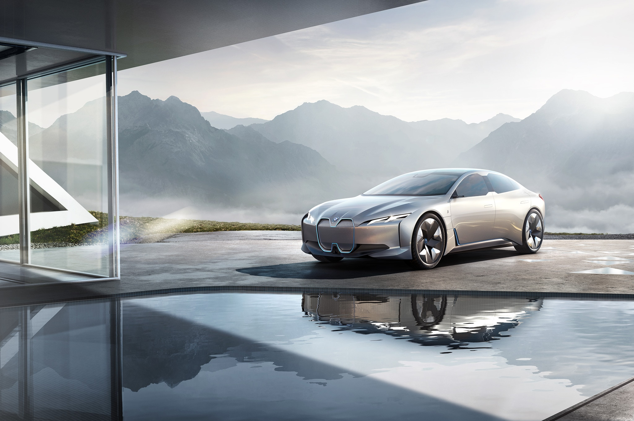 BMW I Vision Dynamics Concept With Modern House