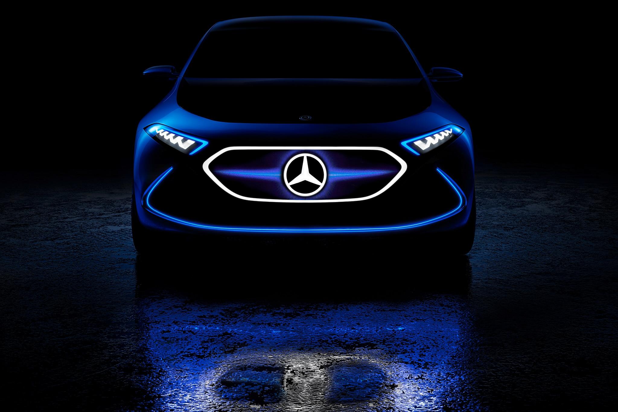 Mercedes-Benz Concept EQA Lights Up Frankfurt with Laser Fiber ...
