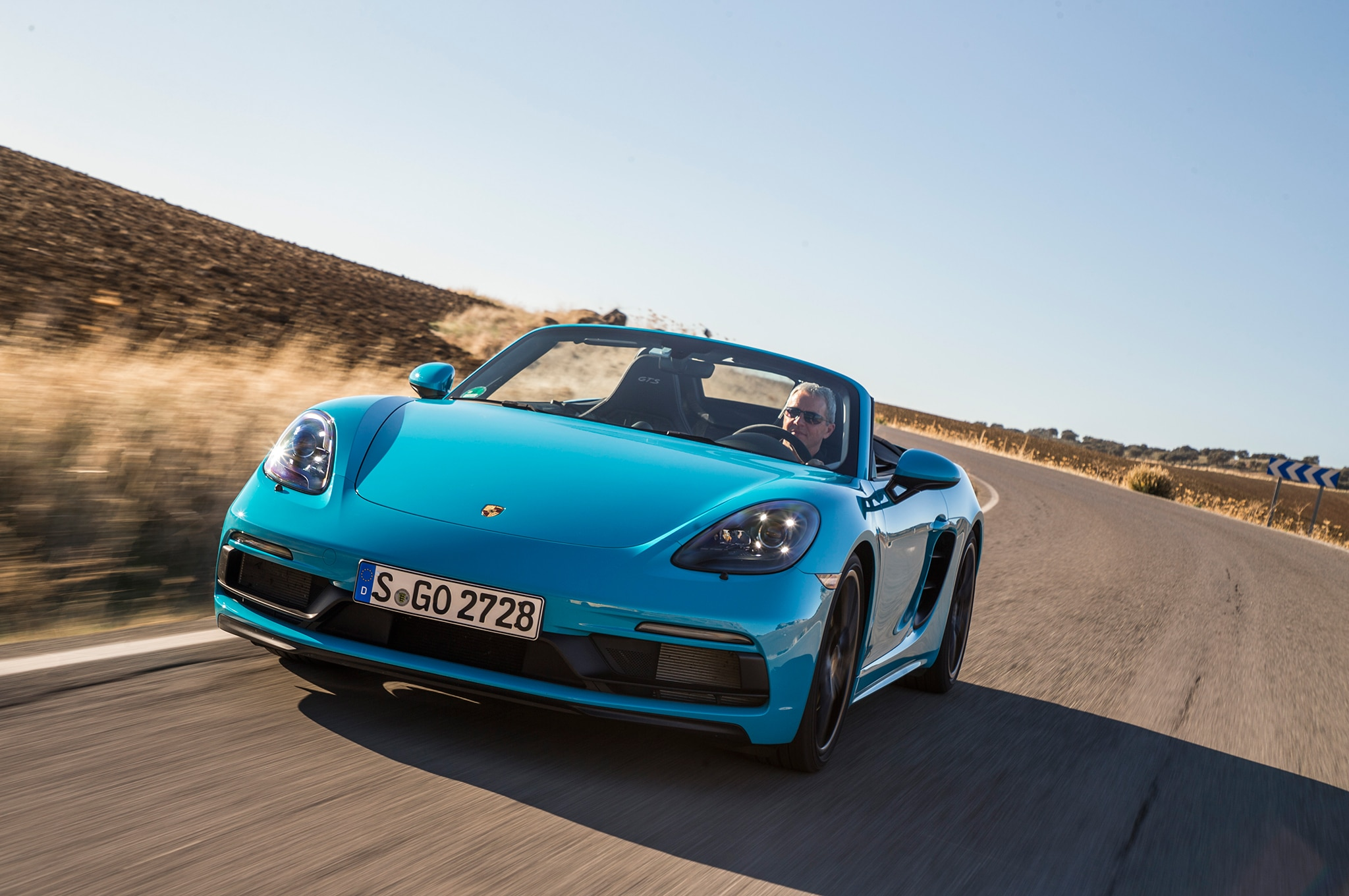 2018 Porsche 718 Boxster GTS Front Three Quarter In Motion 04