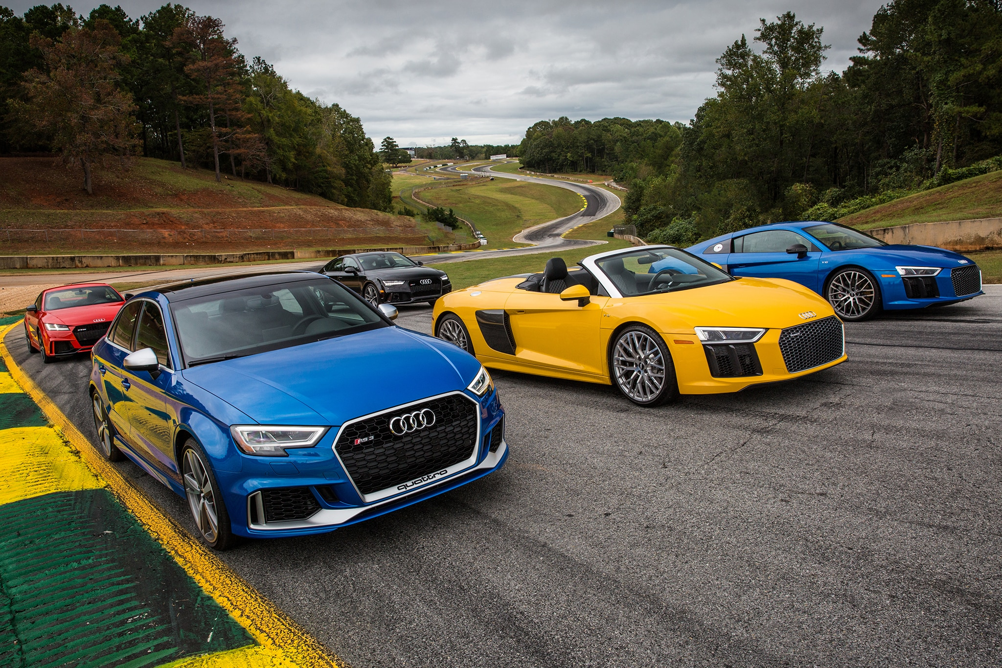 Audi R8  Rs3  And Ttrs Take On Road Atlanta