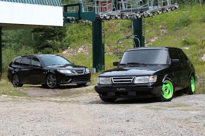 1989 Saab 900 SPG and 2008 9-3 Turbo X Sport Combi Classic Drive