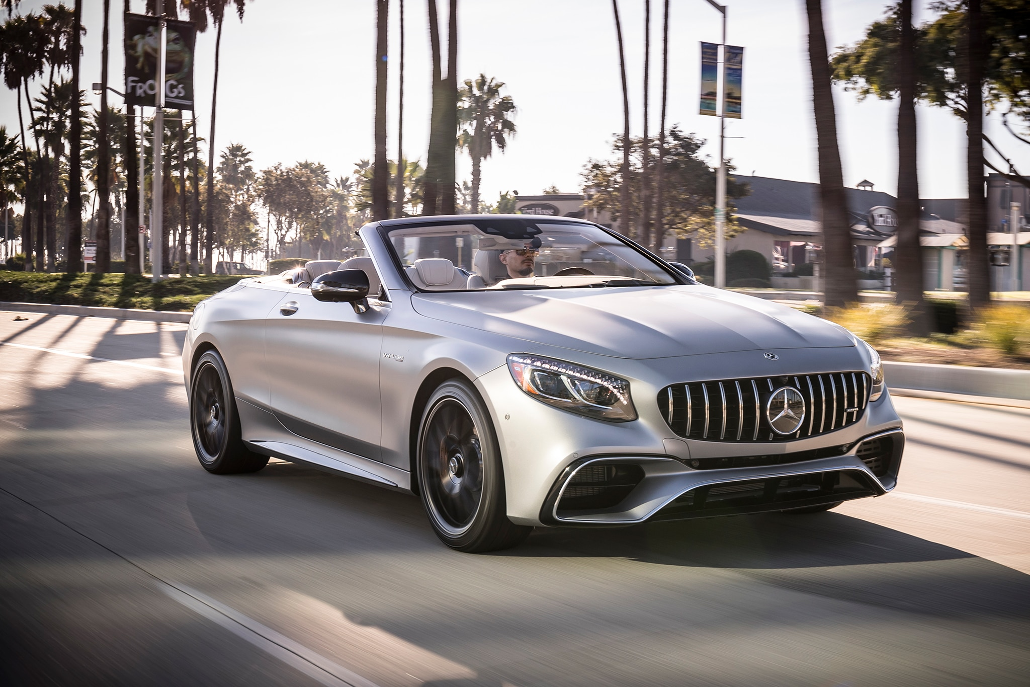 2018 Mercedes AMG S63 Cabriolet Front Three Quarter In Motion 04