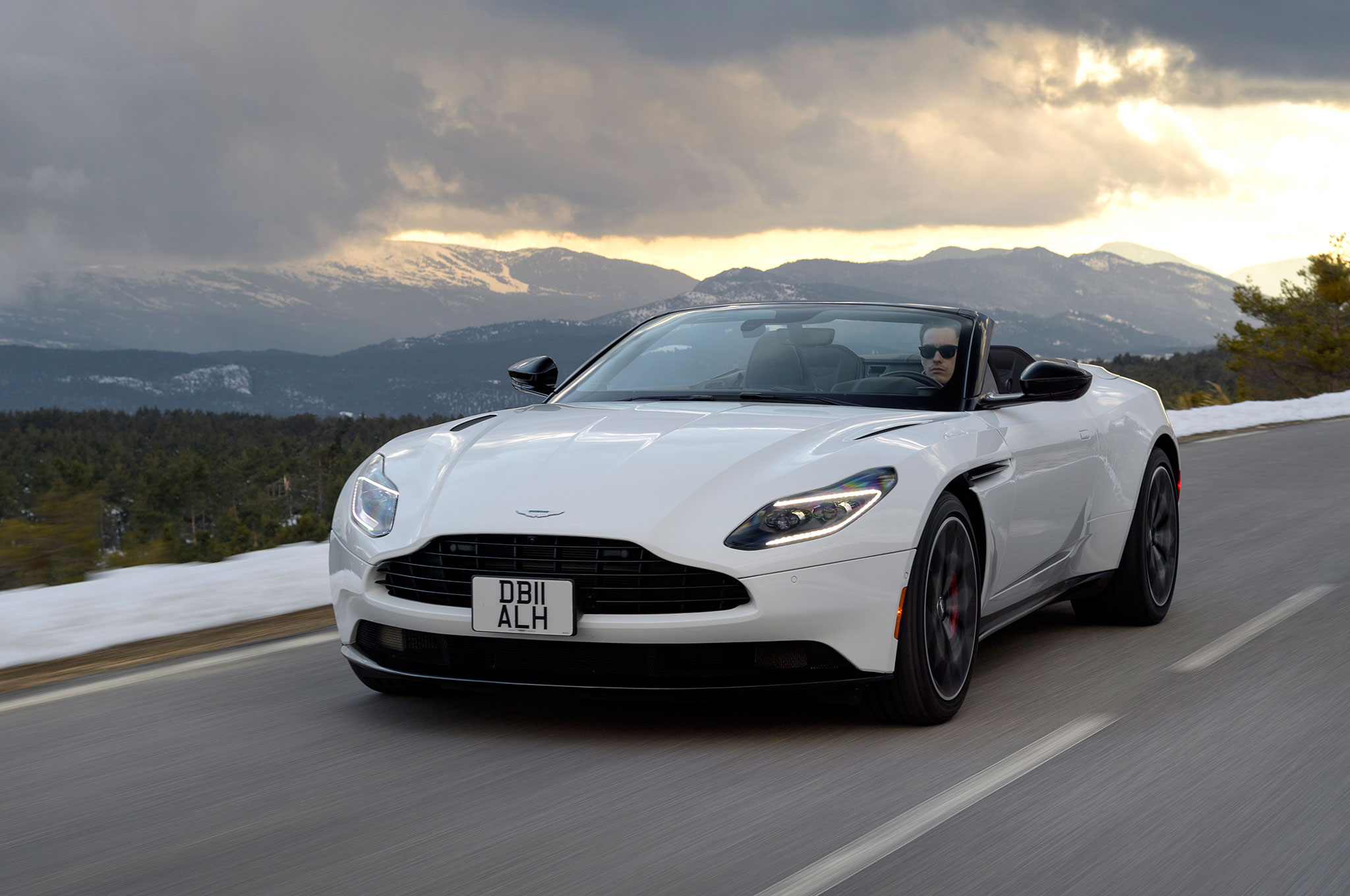 2019 Aston Martin DB11 Volante Front Side Motion View Cloudy