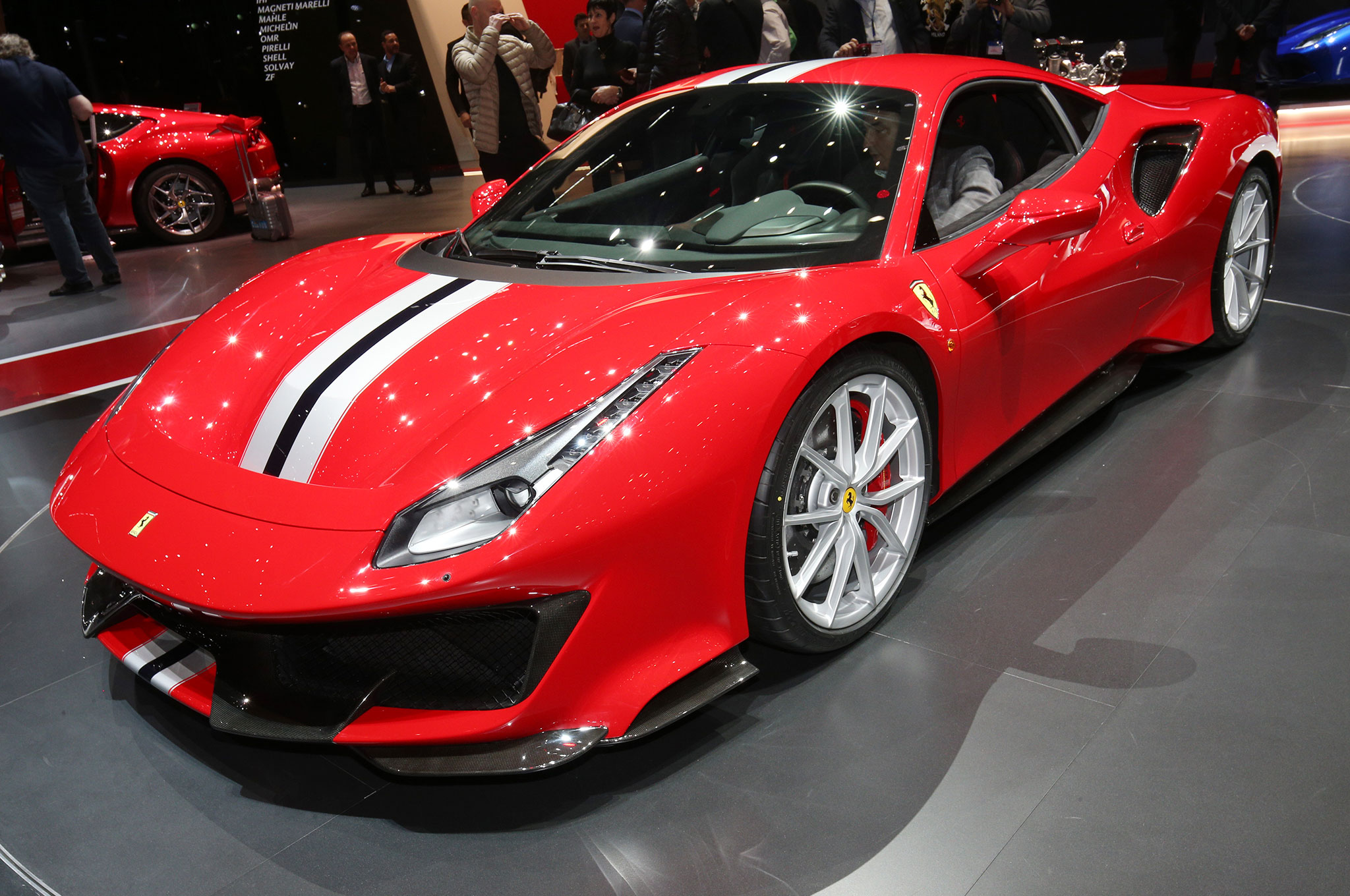 Ferrari 488 Pista Front Side View On Stage