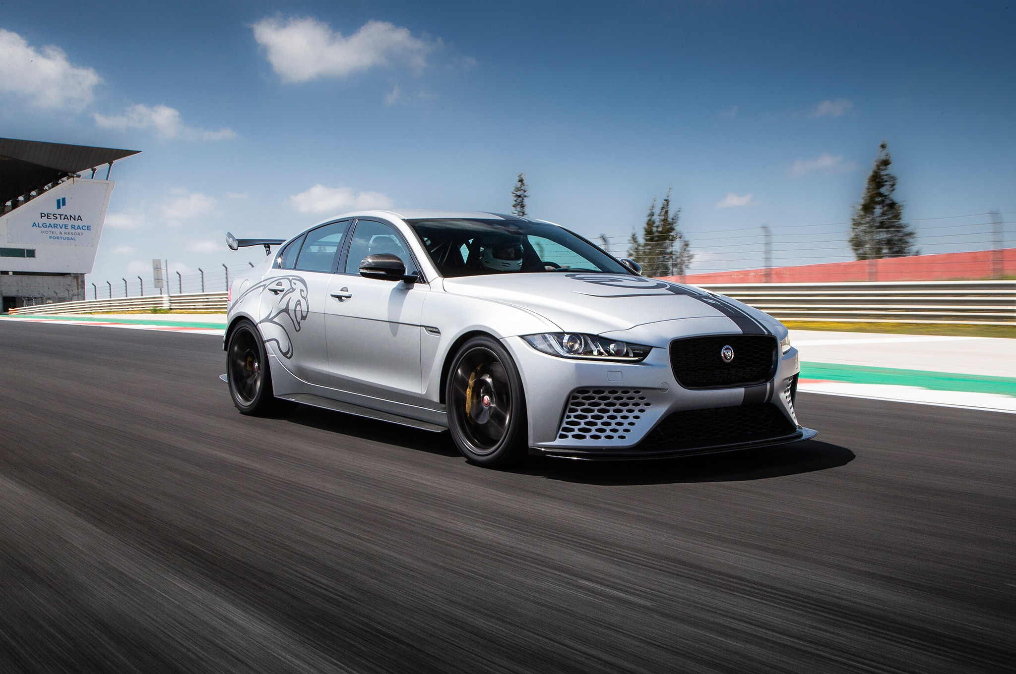 2019 Jaguar XE SV Project 8 Front Three Quarter In Motion 12 2