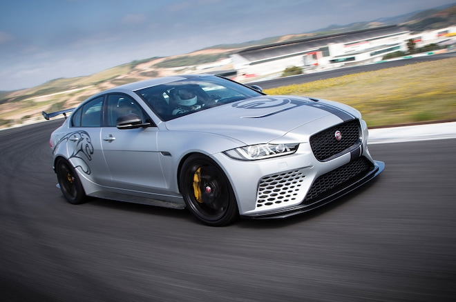 2019 Jaguar XE SV Project 8 Front Three Quarter In Motion 3 2