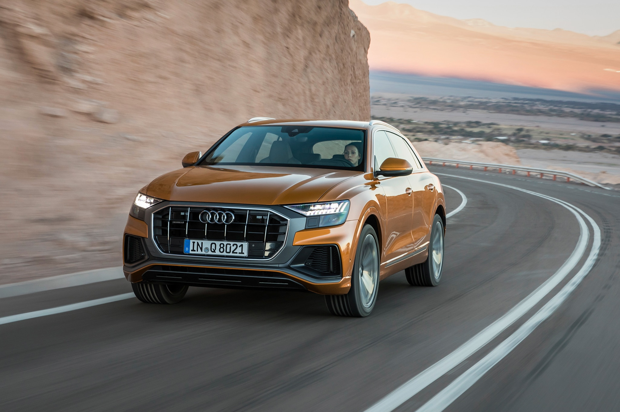 2019 Audi Q8 Front Three Quarter In Motion 10