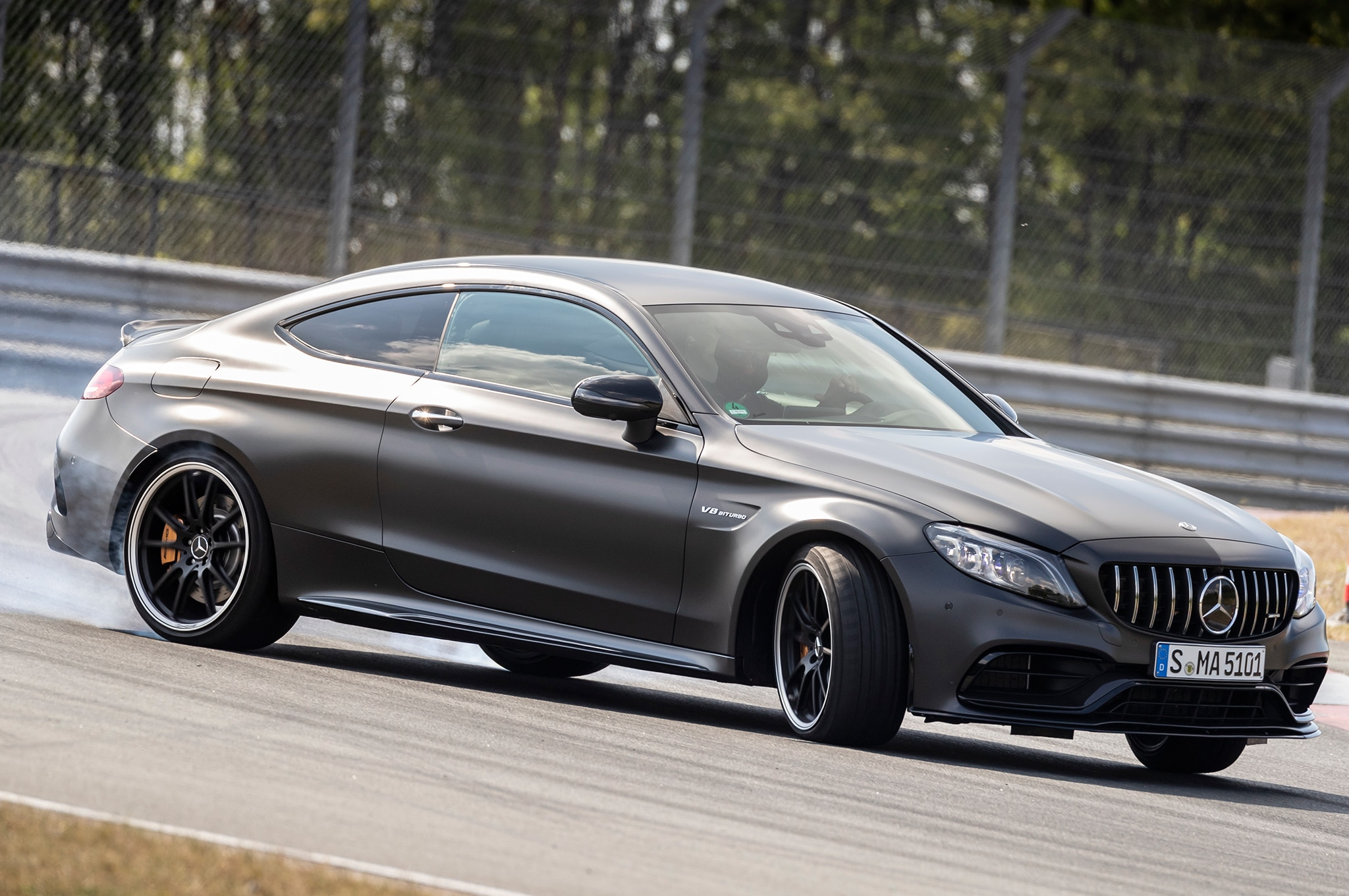 2019 Mercedes AMG C 63 S Coupe Front Three Quarter In Motion 02