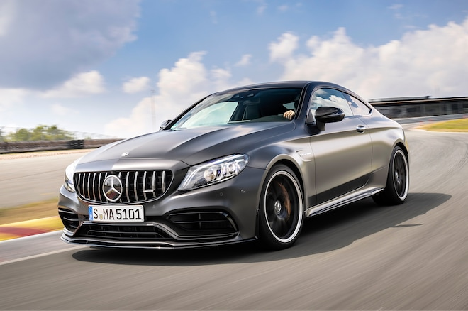 2019 Mercedes AMG C 63 S Coupe Front Three Quarter In Motion 05