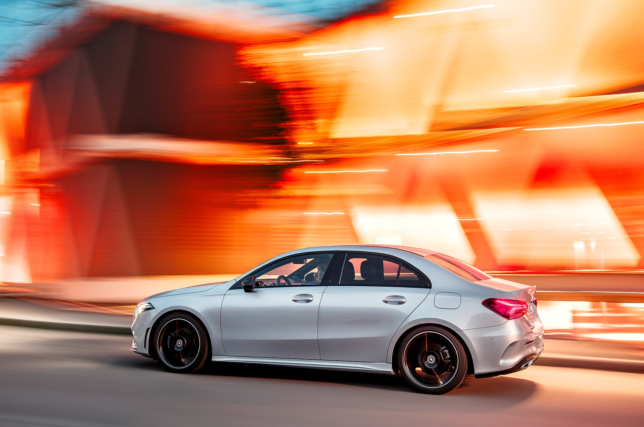 2019 Mercedes Benz A Class Sedan Side In Motion 4