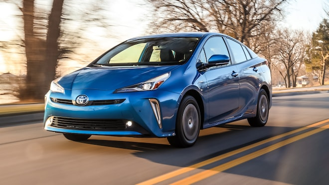 2019 Toyota Prius Awd E Xle Blue Front Three Quarter In Motion 3