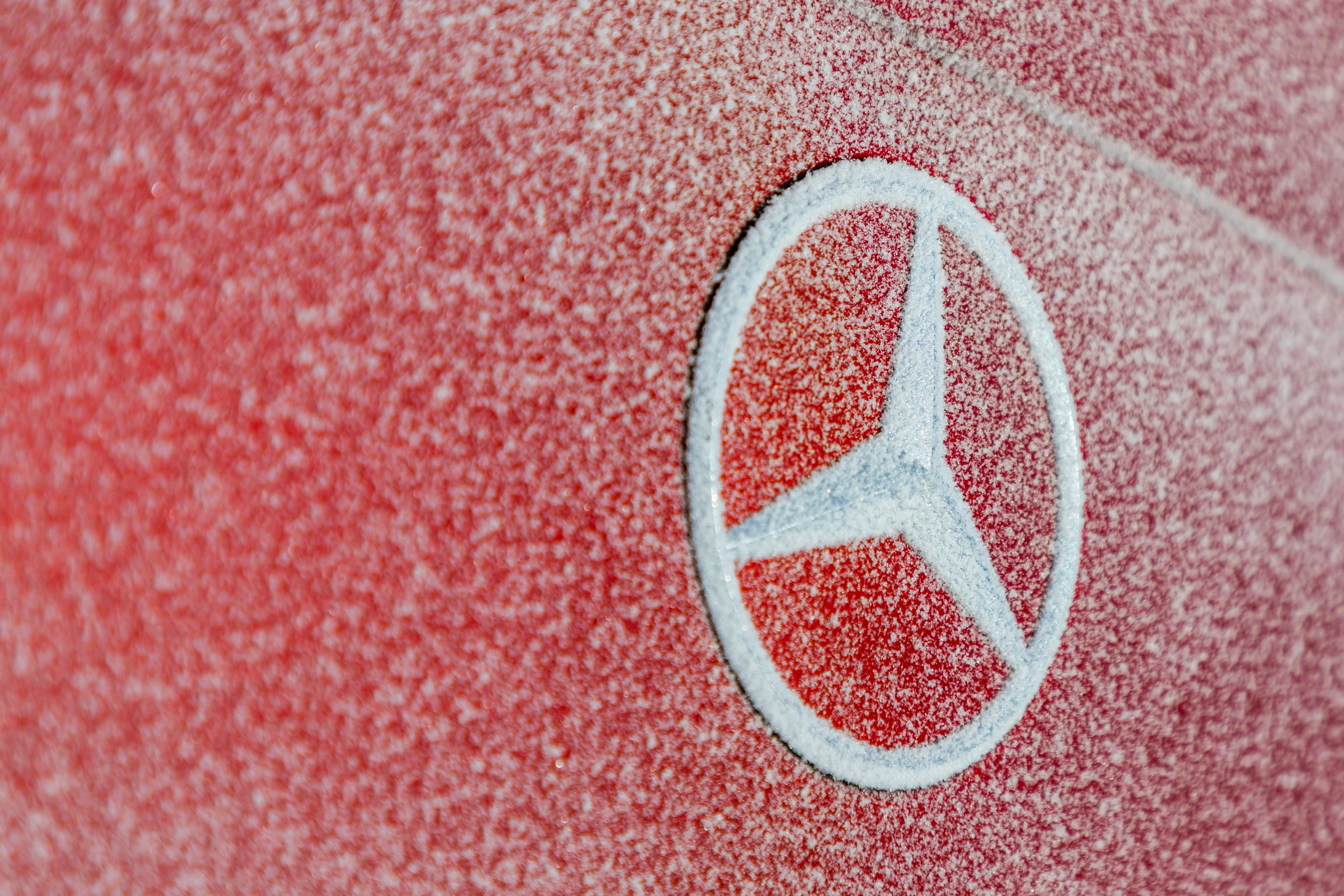 Mercedes Benz Badge With Snow