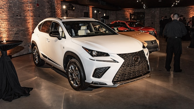 we see a special edition lexus nx and it is painted black or white or silver