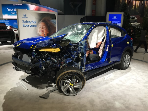 185474b9b8455f Actually, I think it's pretty cool that Honda showed off the actual HR-V  that was crashed in the IIHS's difficult small-overlap crash test.