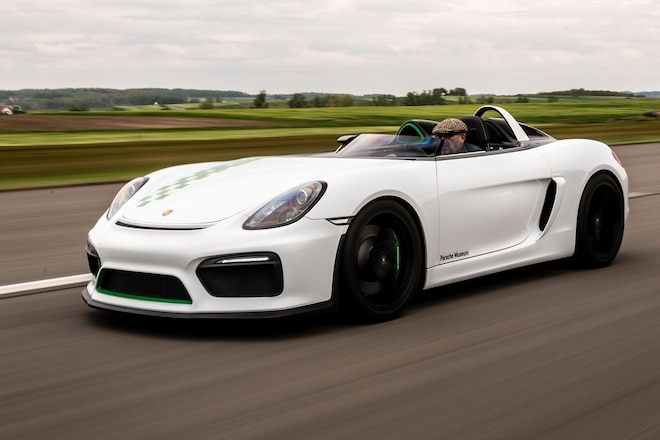 Porsche Boxster Bergspyder Front Three Quarters In Motion