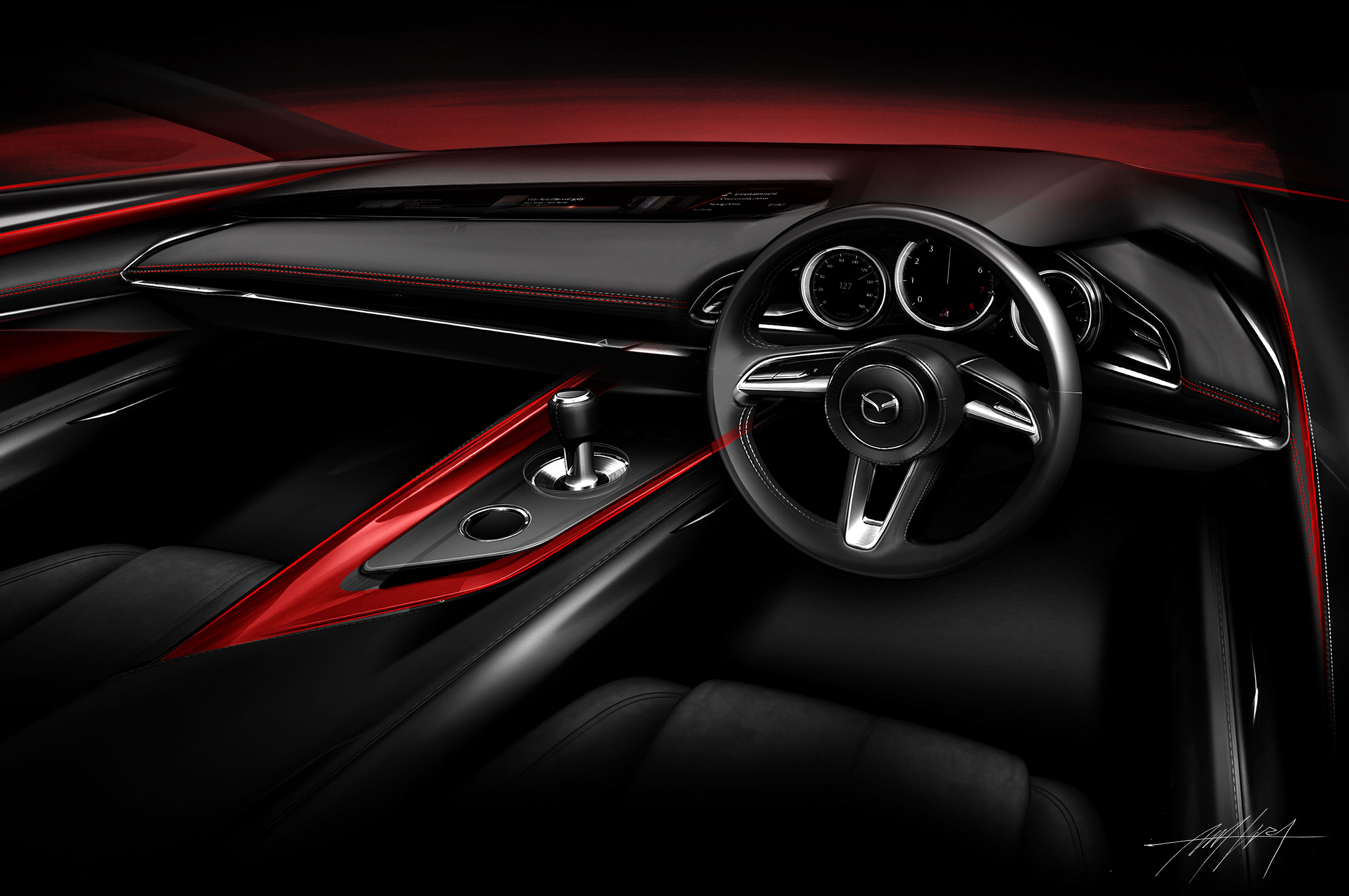 Mazda Kai Concept Interior Sketch 2