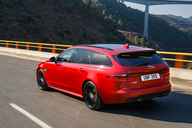 2018 Jaguar XF Sportbrake Rear Three Quarter In Motion 06