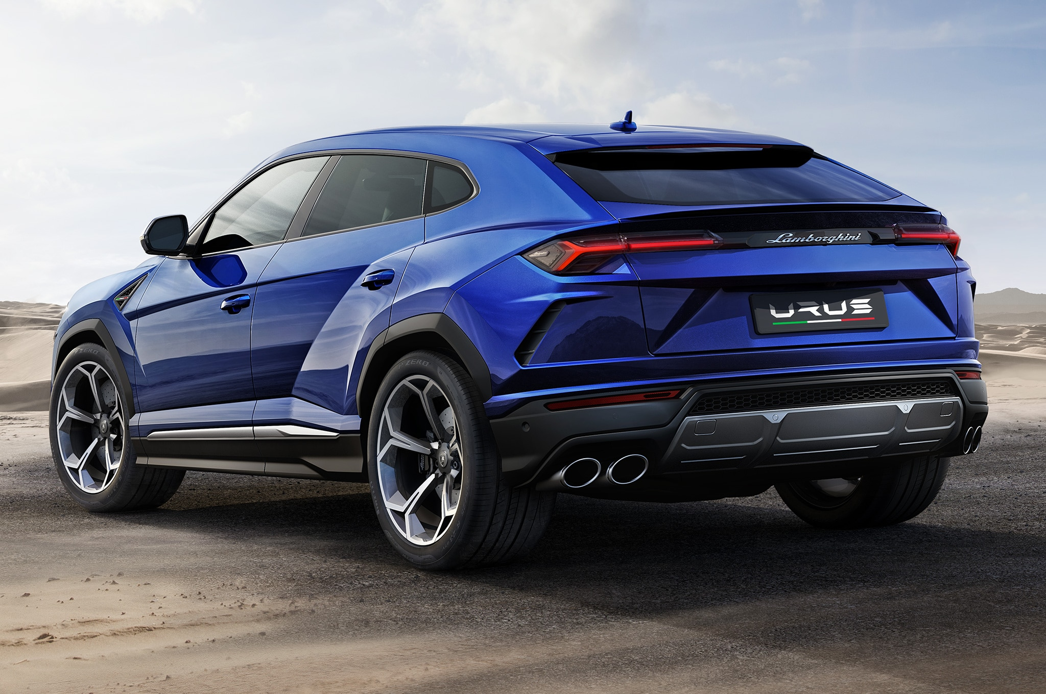 2019 Lamborghini Urus Rear Side View Parked