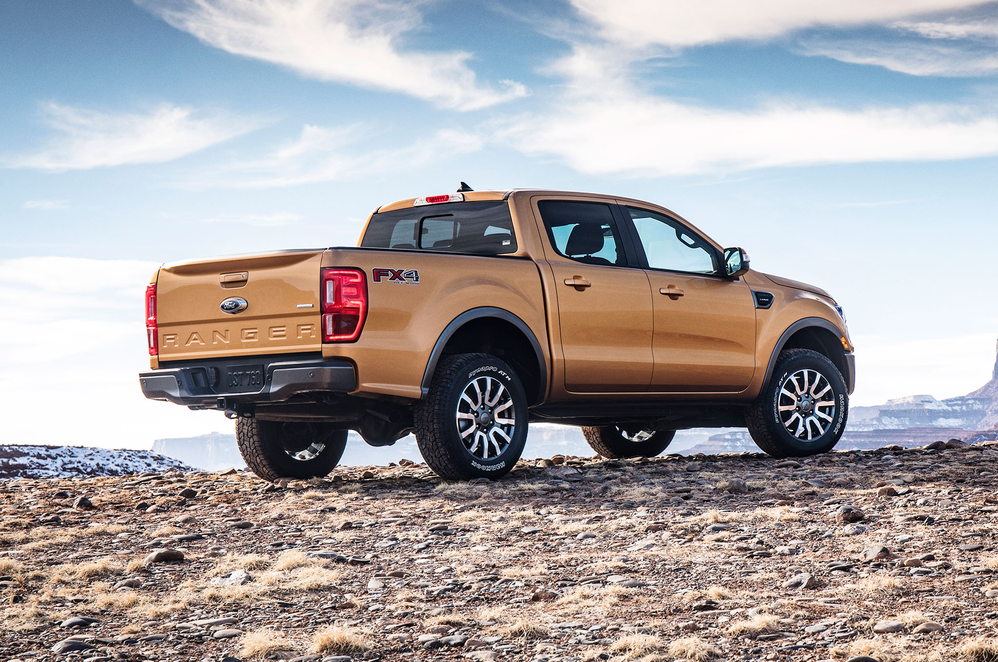 2019 Ford Ranger Rear Side View On Rocky Hill