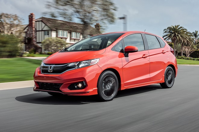2018 Honda Fit Sport Front Three Quarter In Motion 02