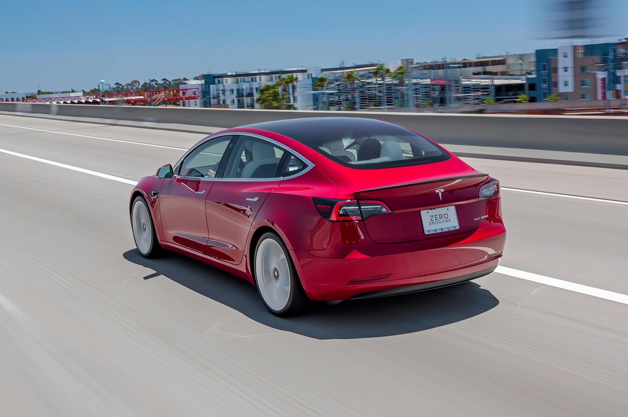2018 Tesla Model 3 Dual Motor Performance Rear Three Quarter In Motion