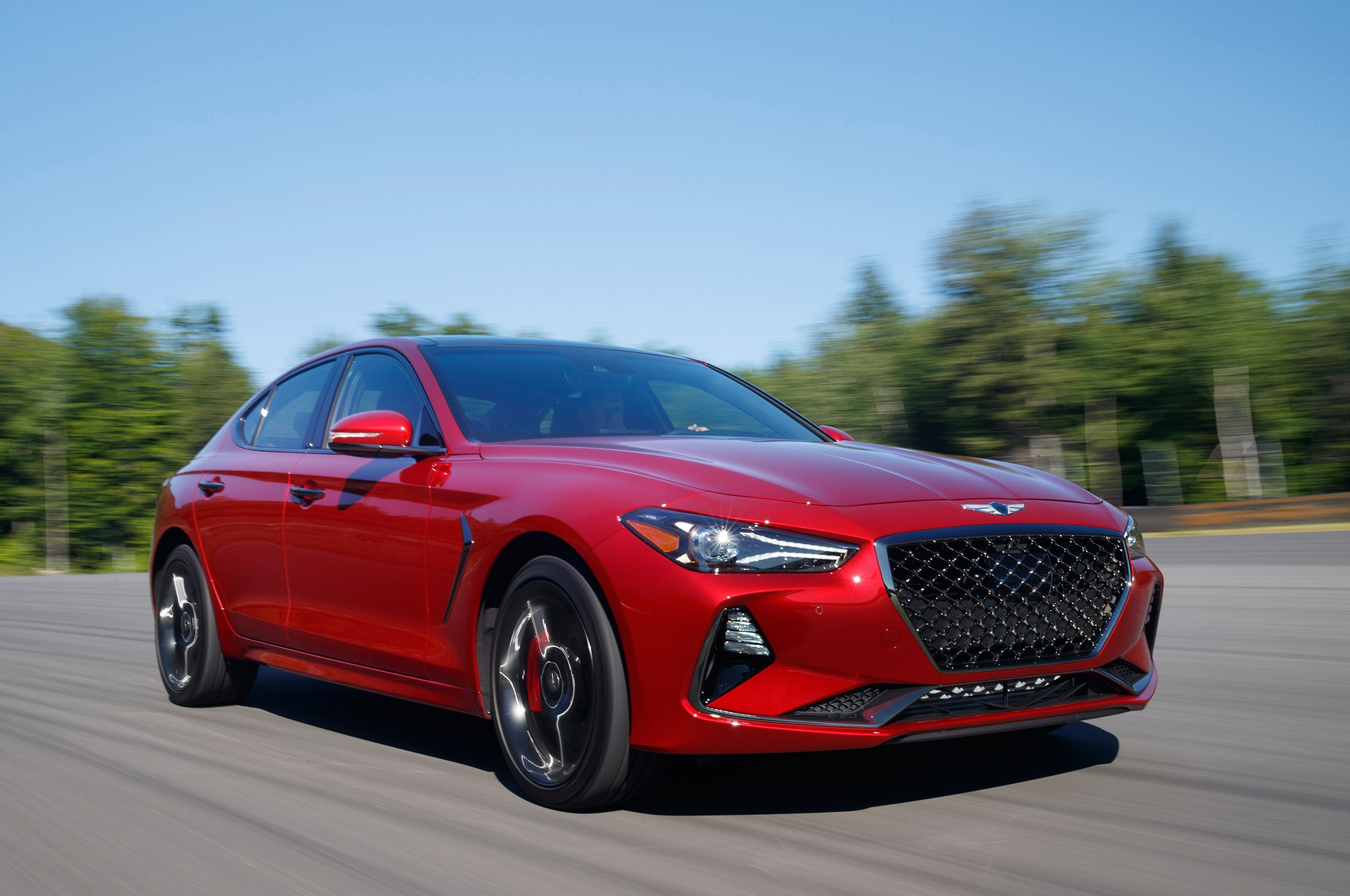 2019 Genesis G70 33T Front Three Quarter In Motion 3