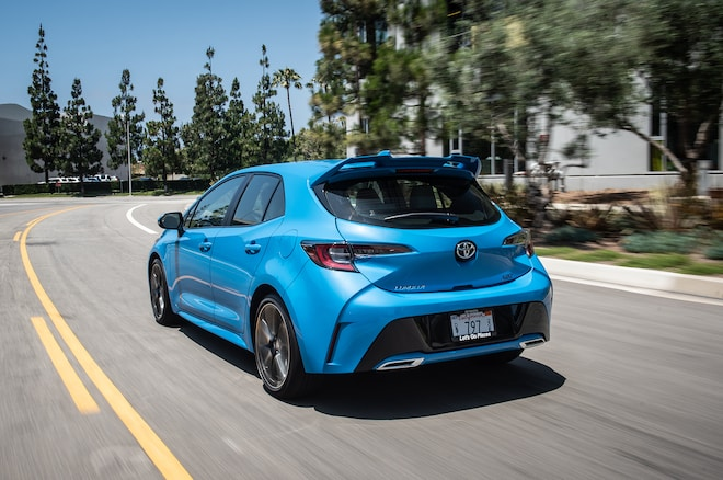 2019 Toyota Corolla Hatchback Rear Three Quarter In Motion 01