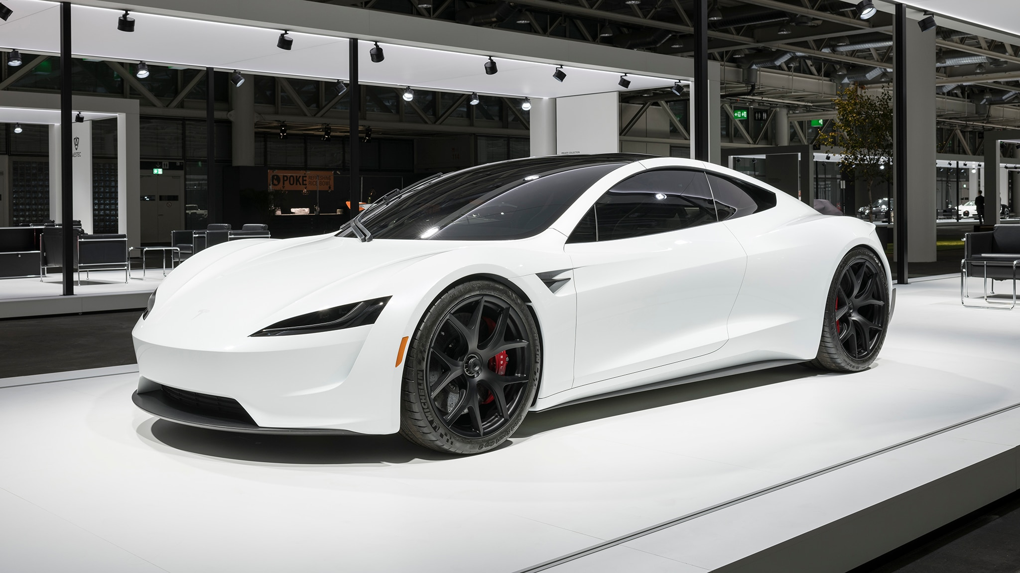 2020 tesla roadster makes european debut dressed in white automobile magazine. Black Bedroom Furniture Sets. Home Design Ideas