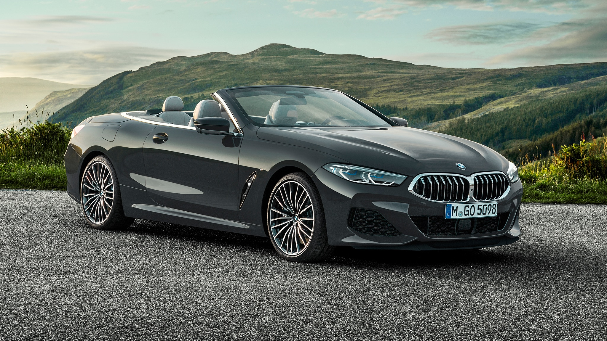 2019 BMW M850i Convertible Parked Top Down