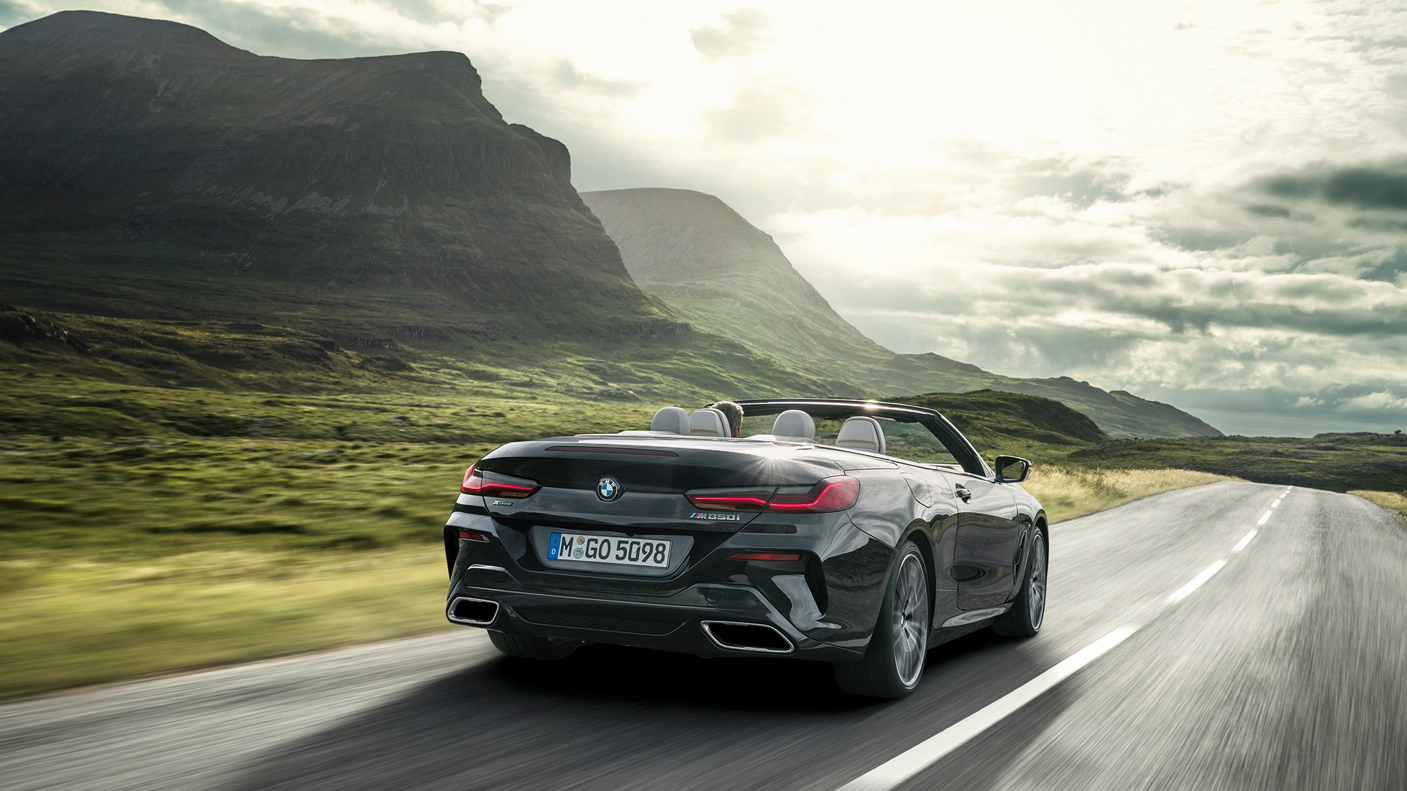 2019 BMW M850i Convertible Rear Motion Mountains And Sky