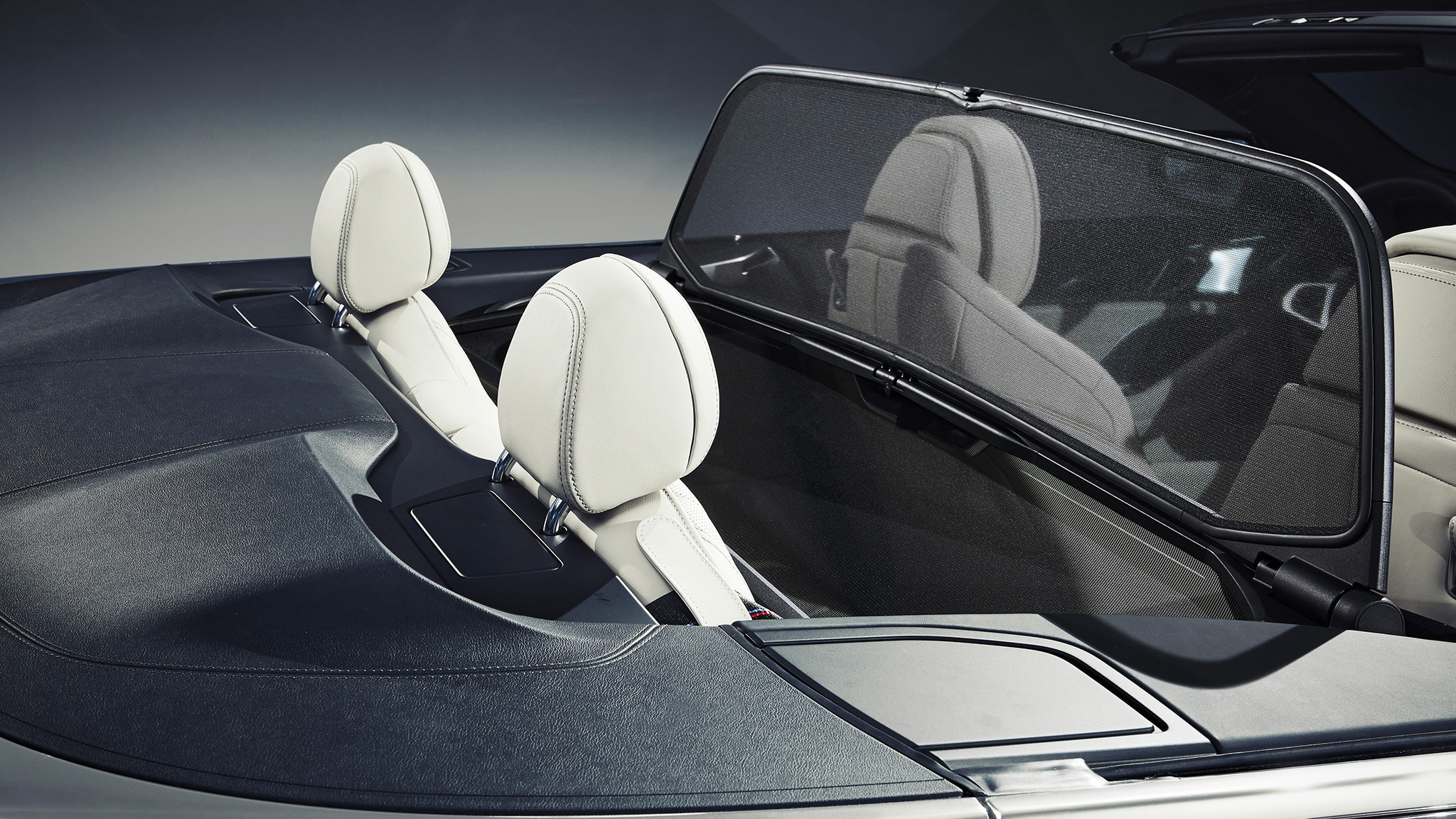 2019 BMW M850i Convertible Rear Seats With Wind Blocker Up