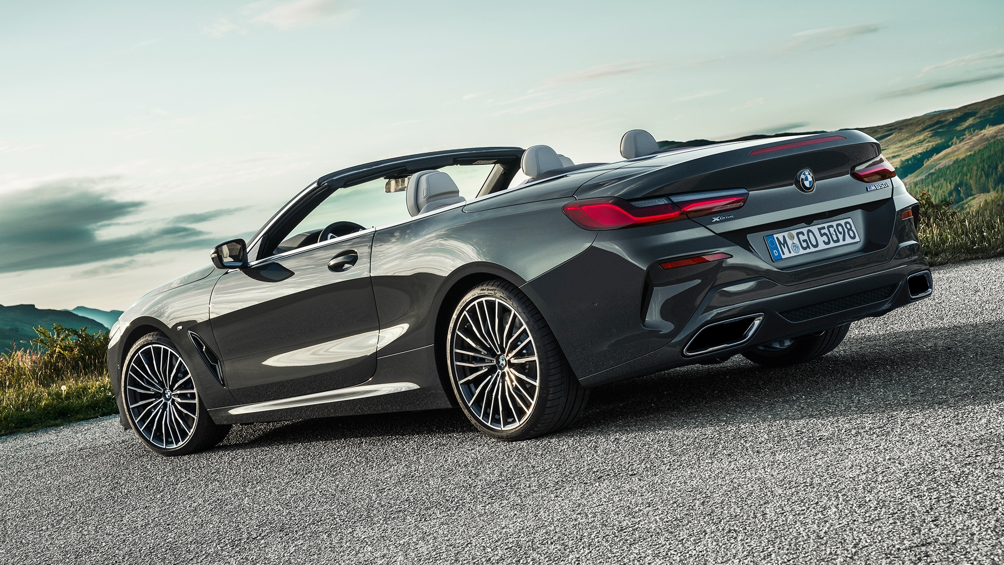2019 BMW M850i Convertible Rear Side View At Angle