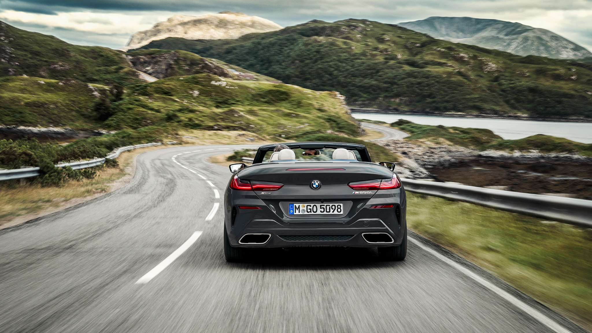 2019 BMW M850i Convertible Rear View On Road