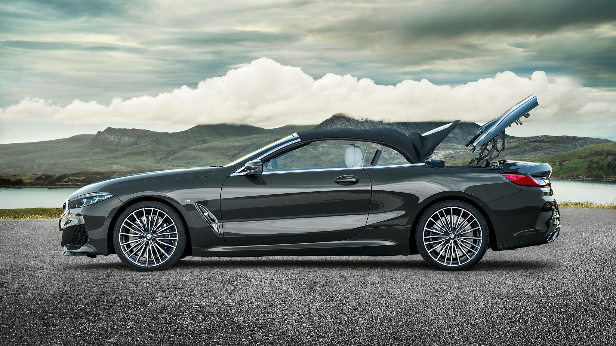 2019 BMW M850i Convertible Top Going Down 2