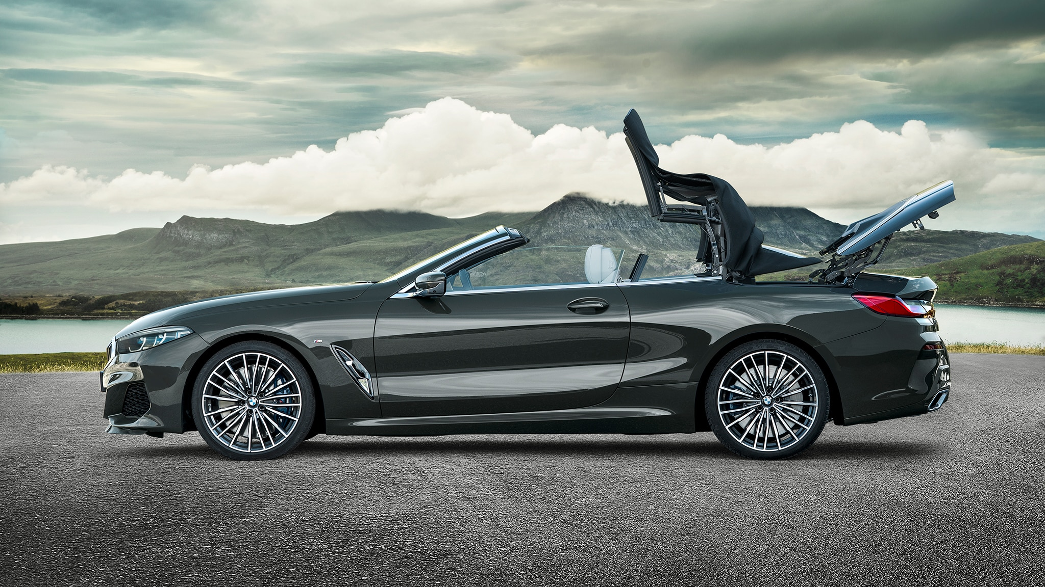 2019 BMW M850i Convertible Top Going Down 3