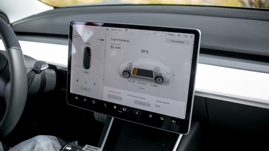 Tesla Model 3 central screen showing charging graphic 02